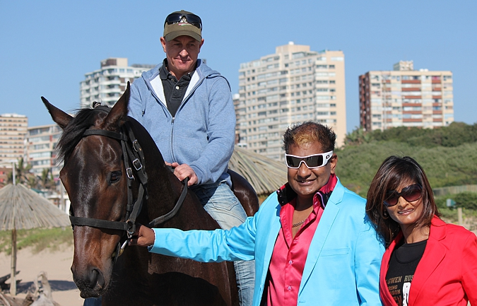 Alesh Naidoo and his wife with Winter Wizard at Suncoast. Photo: Candiese Marnewick