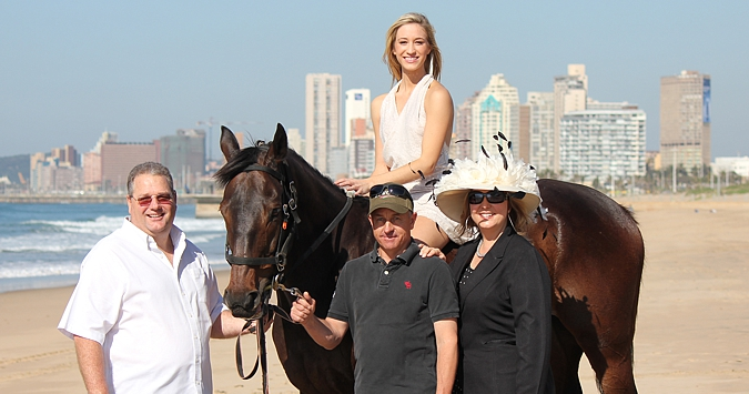 Manny Testa, Chloe Stone, riding master Rhys Van Wyk of the South African Jockey Academy and Mandy Testa with Winter Wizard at Suncoast. Photo: Candiese Marnewick
