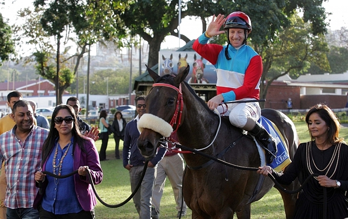 Admiral's Eye lead in at Greyville, her win in October 2014. Image: Gold Circle