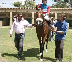 Alesh leading in his son of Kahal, Love Struck, a winner on debut. Image: Gold Circle