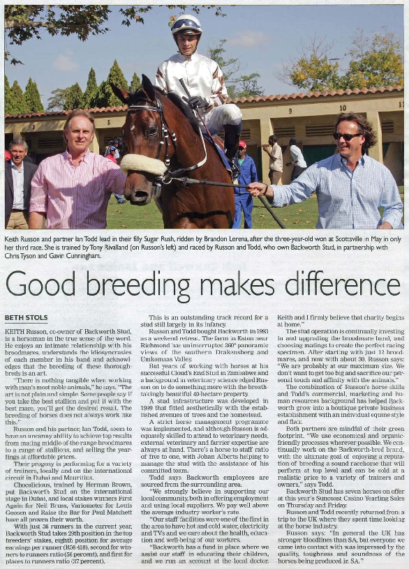 Backworth Stud, owned by Keith Russon and Ian Todd featured in the Sunday Tribune. (Photo : Backworth Stud)