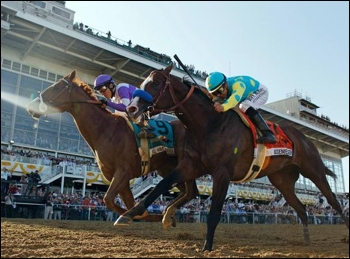 I'll Have Another defeating Bodemeister at the finish of the Preakness. I'll Have Another might be the first horse to win the Triple Crown since 1978.