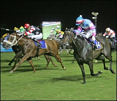 Thunder Creek, out of Crystal Clear, winning the Grade 3 Kings Cup from Thandolwami. Image: Gold Circle