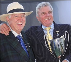 Des and Robin Scott with their sponsored floating trophy. Image: John Lewis